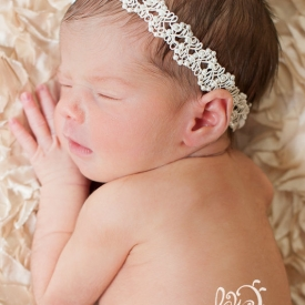 Ivory pearl and lace newborn headband ready to ship