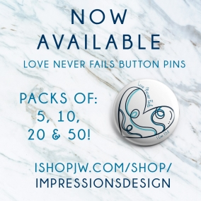Love Never Fails Pins – Blue 50 Pack