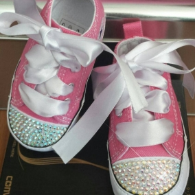 Baby Converse, Crystal Toes, Sizes 1-4 Available, Infant High Tops, Pink Shoes