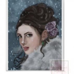Elegant Woman Digital Drawing Print