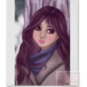 Bundled Up Digital Drawing Print