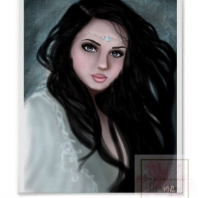 Jeweled Lady Digital Drawing Print