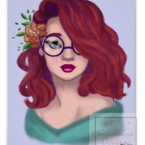 Girl in Glasses Digital Drawing Print