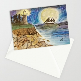 'A Sailors Dream' Greeting Card 5″x7″Watercolor Artwork Print by Kikajo Ink