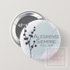 Always Rejoice Spanish Button Pin Blue – 10 Pack