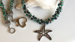 Starfish Charm Kumihimo Beaded Necklace