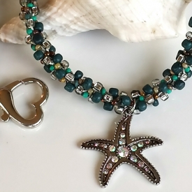Starfish Charm Kumihimo Beaded Necklace