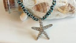 Starfish Pendant Kumihimo Beaded Necklace