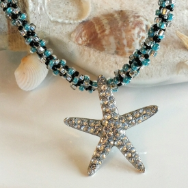 Starfish Pendant Kumihimo Beaded Necklace