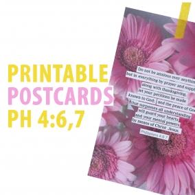 Printable encouraging postcards | Set of 2 postcards | Philippians 5:6,7 | JW postcard download