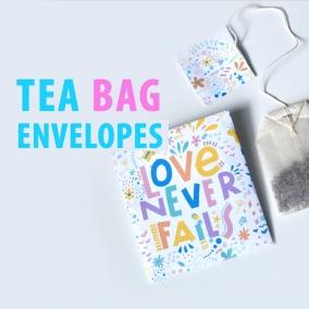 Printable Tea Bags Love Never Fails featuring Bible Scripture from 1 Corinthians 13