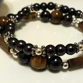 Tigers Eye and Black Pearl Bracelets